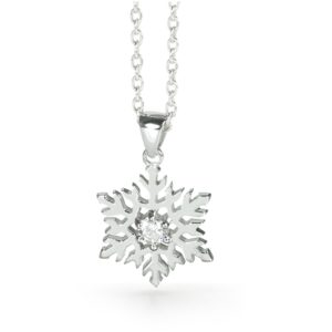 Sterling Silver Small Snowflake Necklace -14/006