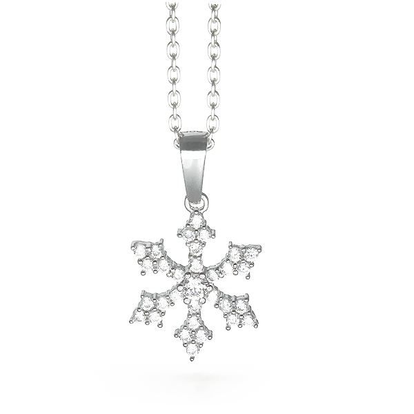 Sterling Silver Snowflake Necklace Small - 011