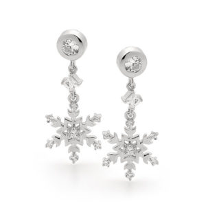 Sterling Silver Snowflake Earrings -010