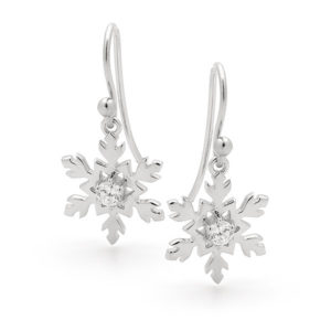 Sterling silver small classic snowflake earrings