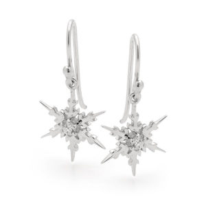 Sterling silver small snowflake earrings