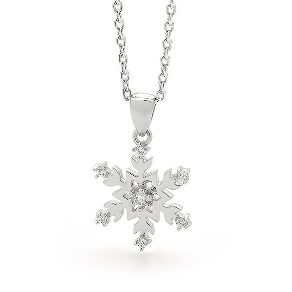 Sterling Silver Small Snowflake Necklace -14/004