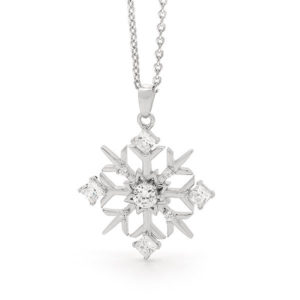 Sterling Silver Frosted Snowflake Necklace