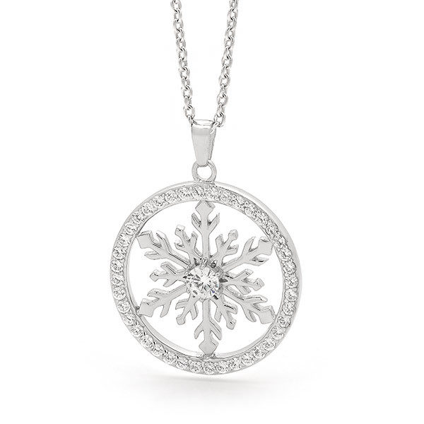 Sterling silver large snowflake necklace