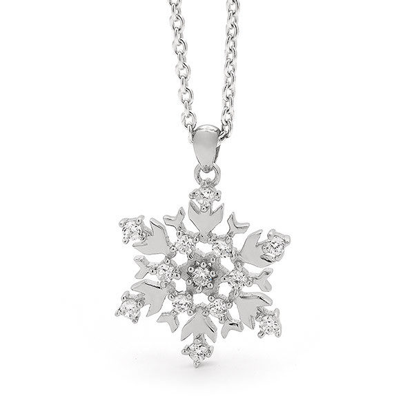 Sterling Silver Medium Snowflake Necklace-23/003