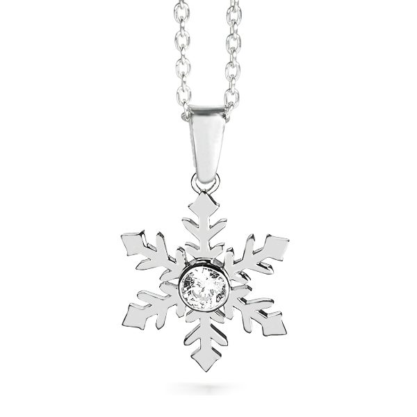 Silver Snowflake Necklace - 009