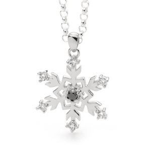 Sterling Silver Black Diamond Snowflake Pendant Necklace
