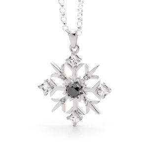 Black Diamond Snowflake Necklace