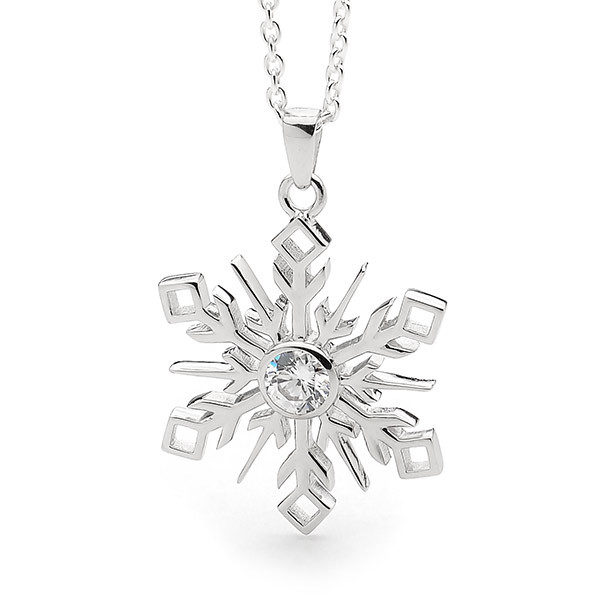 Sterling silver large snowflake pendant