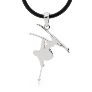 Sterling Silver Slopestyle Skier Pendant Necklace - Male