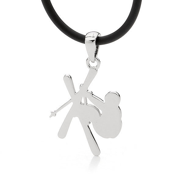 Sterling Silver Freestyle Skier Pendant - Male