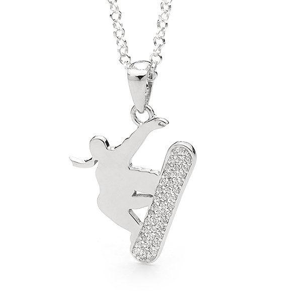 Sterling Silver Freestyle Snowboard Pendant - Female