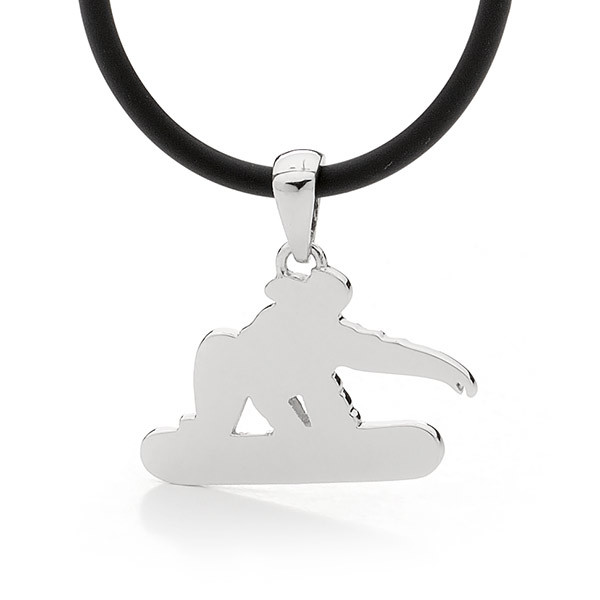 Sterling Silver Slopestyle Snowboard Pendant- Male