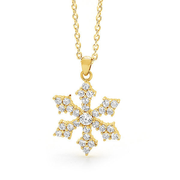 9ct Yellow Gold Snowflake Necklace