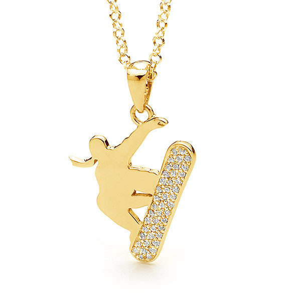9ct Yellow Gold Women's Freestyle Halfpipe Slopestyle Snowboard Necklace