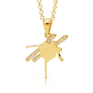9ct Yellow Gold Freestyle Mogul Skier Pendant - Female