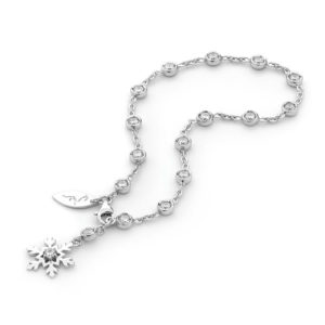 Sterling Silver Cubic Zirconia and Snowflake Bracelet