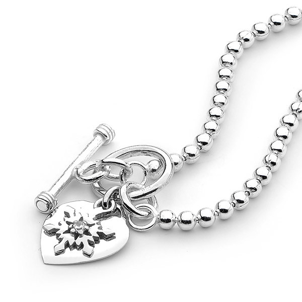 Sterling Silver Snowflake & Heart Ball Necklace