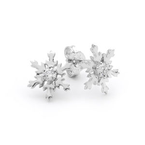 Sterling Silver 10mm Snowflake Stud Earrings