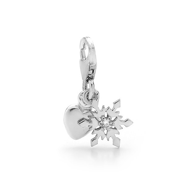 Sterling Silver Heart & Snowflake Charm