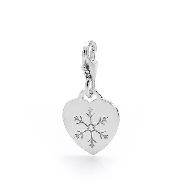 Sterling Silver Heart with Snowflake Charm
