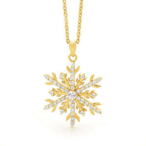 18ct Yellow Gold Diamond Snowflake Necklace