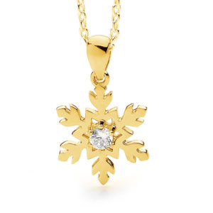 18ct Yellow or White Gold Diamond Snowflake Necklace Pendant