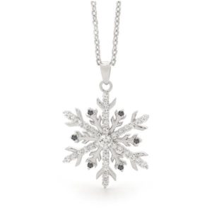 Snow Princess Black Diamond Snowflake Necklace
