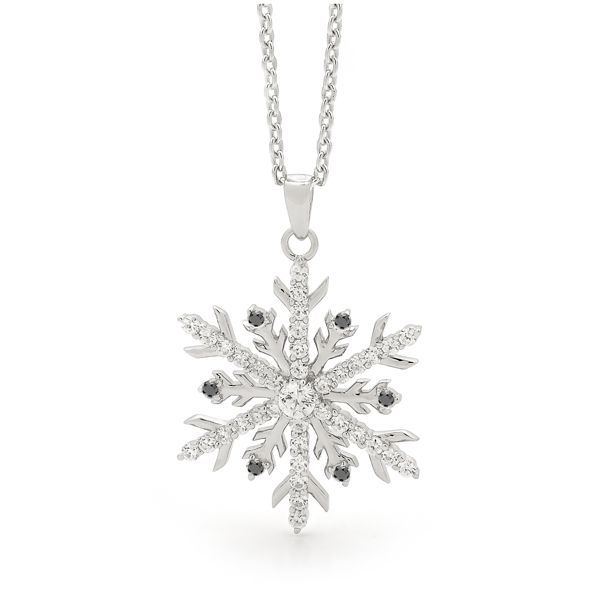 White Gold Snowflake Necklace with Black and White Diamonds