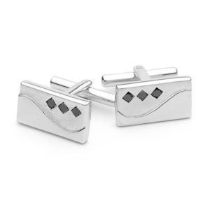 Sterling Silver Triple Black Diamond Cufflinks