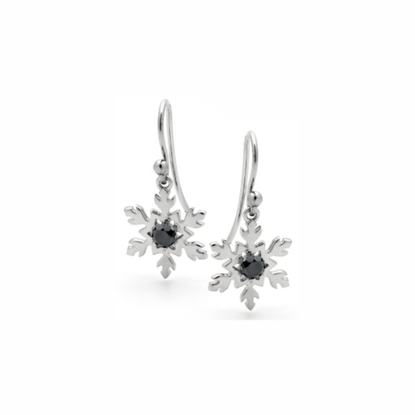 Classic Black Beauty Snowflake Earrings