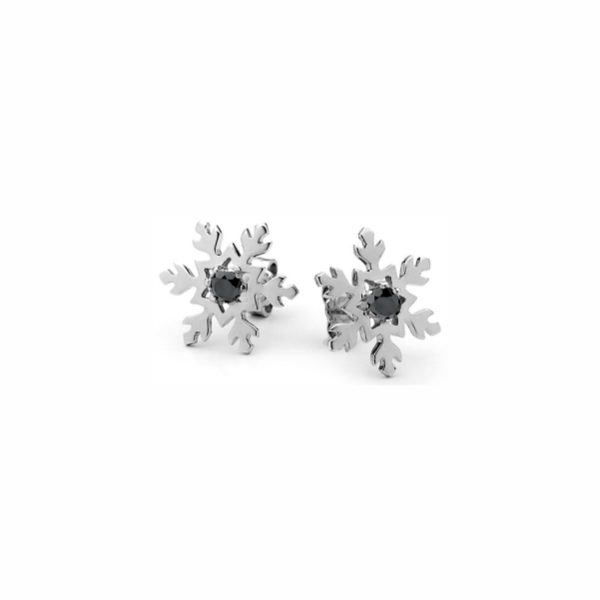 Bold and Black Snowflake Studs