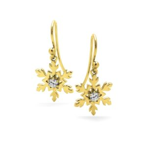 18ct Gold Snowflake Earrings on Shepard Hooks