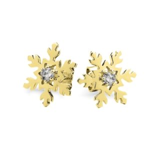 9ct Yellow Gold Snowflake Earrings- SFE_019 G