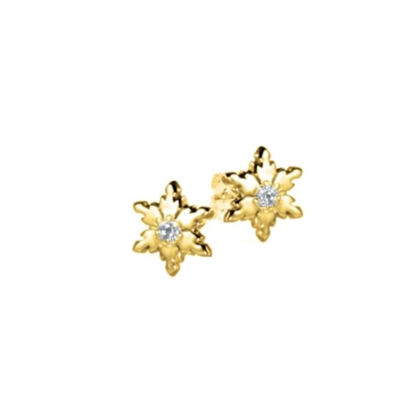 9ct Yellow Gold Snowflake Stud Earrings