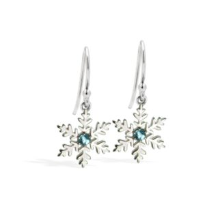 Sterling Silver Blue Topaz Snowflake Earrings