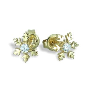 Petite 9ct Yellow Gold Snowflake Ear Studs