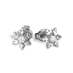 Sterling Silver Petit Snowflake Stud Earrings - 8mm