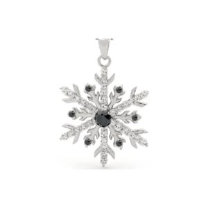Snow Goddess Black Diamond Snowflake Necklace