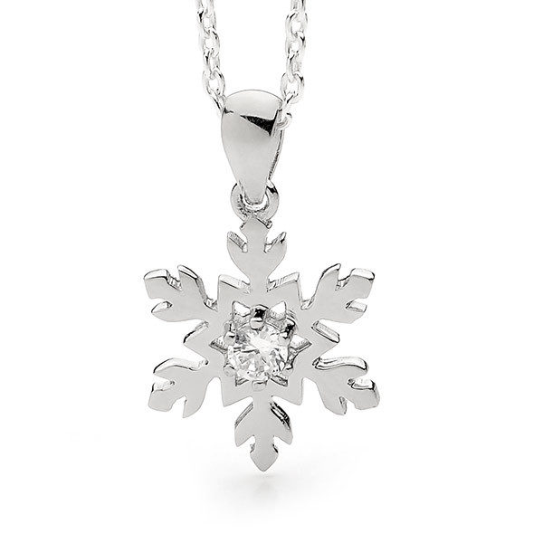 18ct White Gold Diamond Snowflake Necklace