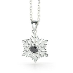Precious Black Diamond Snowflake Pendant Necklace