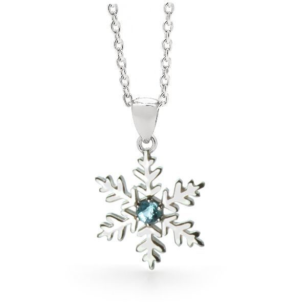 Sterling Silver Blue Snowflake Necklace