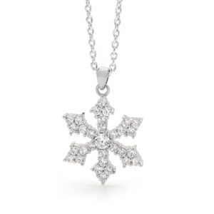 18ct White Gold Diamond Set Snowflake Pendant