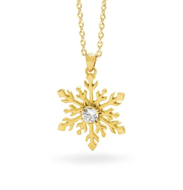 9ct Yellow Gold Snowflake Necklace - 23/008G