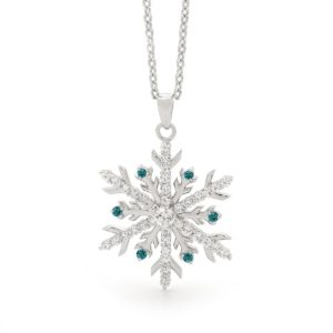 Large Snowflake Pendant set with Blue Diamonds