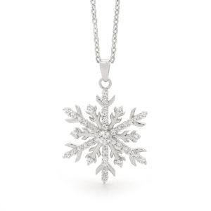 18kt White Gold Diamond Snowflake Necklace