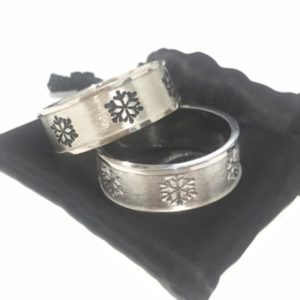 Sterling Silver Mens Snowflake Ring
