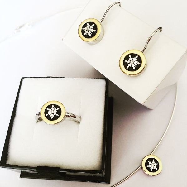 Sterling Silver with 18ct Y/Gold and Diamond Earrings