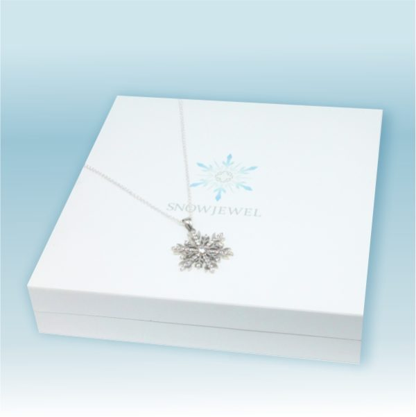 Snowflake Necklace with White Gold, Black and White Diamonds 1