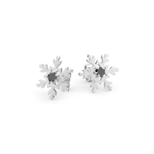 Snowflake Earring Studs with Black Diamonds 1